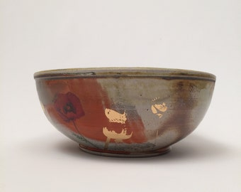 Wood Fired Poppy Serving Bowl