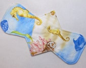 "12.5"" (31.8 cm) Regular / Moderate Absorbency - Reusable Cloth Menstrual Pad (12MC) - Sea Life"