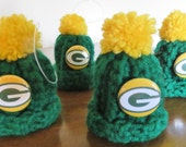 Green Bay Packers Inspired Green and Gold Beanie Pom Pom Hat Ornament