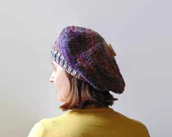 Purple Wool Chunky Knit Beret, Hand Knit Womens Hat, Winter Tam, Slouchy Hat, Knitted Cap, Beret Hat, French Beret, Knitted Beret, Wool Hat