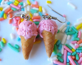 Strawberry Ice Cream Cone Earrings, Ice Cream Earrings, Polymer Clay Food, Food Jewelry, Miniature Food Jewelry