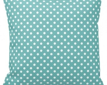 "POLKA DOTS On Soft Teal- Throw Pillow, Decorative Pillow, Pillow Cover, Pillow Insert, Pillow Case - SQUARE- 17"" x 17"" - Zipper Closure"
