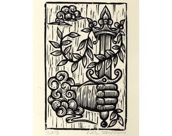 Art, Tarot Wall Art Woodcut Print, Ace of Swords Tarot Card Hand Pulled Woodcut Print, wall decor