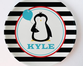 Personalized Melamine Plate -Penguin  melamine plate with balloon