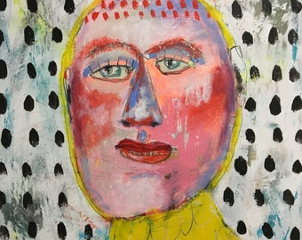 Wonder Self Portrait sans Glasses, Mixed Media Painting, Folk Art, Ousider, Art Brut, Mystele