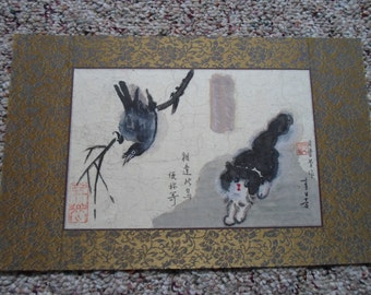 """Cat and Bird Chinese ink Painting hand painted original cat bird 12""""*8"""" lively Beautiful Christmas gift Wall deco Art game folk traditional"""