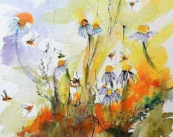 Watercolor Flowers and Bees Chamomile Botanical