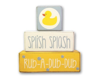 Yellow Rubber Duck Bathroom Custom Wood Block Set Kids Bathroom Yellow And  Blue Stacking Blocks Kids