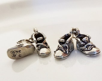 Baby Bootie Charms Sterling Silver 925 Cute Findings for Earrings, Bracelets, Necklaces