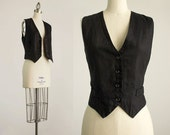90s Vintage Ann Taylor Black 100% Linen Fitted Vest Top / Size Small