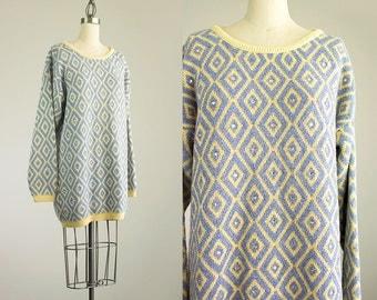 Cherie Vintage // 90s Vintage Blue And Metallic Gold Rhinestone Tunic Sweater Dress / Size Small /Medium