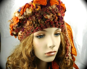 Crocheted Hat, Knitted scarf, Hat and scarf set, sari ribbon hat and scarf, Orange hat and scarf, fall hat and scarf