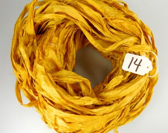 Silk Sari Ribbon, recycled sari ribbon, Sari Silk Ribbon, Gold sari ribbon, Aztec gold ribbon, weaving supply, knitting supply