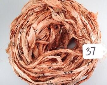 Sari silk Ribbon, Recycled Silk Sari Ribbon, orange sari ribbon, Block print Sari Ribbon