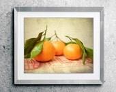 "Still life fruit photography - oranges wall art - kitchen decor - fresh fruit - food print - rustic vintage kitchen art  ""Satsumas"""