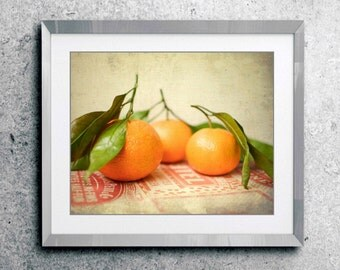 "Still life fruit photography oranges wall art kitchen decor fresh fruit food print rustic vintage kitchen art  ""Satsumas"""