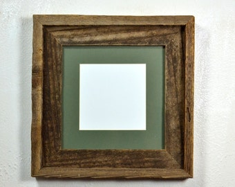 Wood picture frame 8x8 with green mat for 5x5 or 6x6