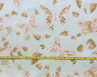 NEW Art Gallery ORGANIC Sweetly Sings Golden KNIT on cotton Lycra fabric 1 yard.