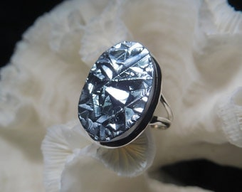Beautiful Galena Mirror Ring Size 9.25