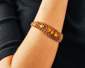 Vintage Amber Rhinestone Bracelet