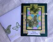 Handmade Anniversary Card: complete card, handmade, balsampondsdesign, Anniversary Card, greeting card, handmade, butterfly, green yellow
