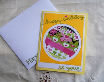 Handmade Birthday Card: complete card, greeting card, yellow, green, birthday card, unique, multi color, friend, family