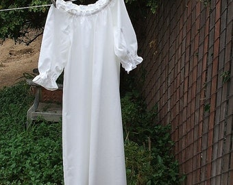 Prairie Nightgown Girls Cotton No Lace Custom made