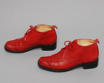 size 9 PLATFORM red leather 80s 90s GRUNGE lace up high heel ankle boots