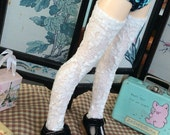 White lacey mori girl textured thigh high stockings for msd bjd Unoa