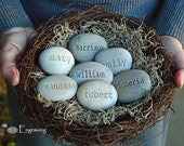 Personalized engraved gifts - Personalized grandmother, mother gifts - Set of 7 engraved name stone eggs in family nest by sjEngraving