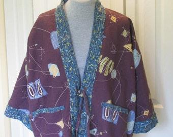 Vintage fabrics in Retro pattern Hippari style jacket, M/L lined