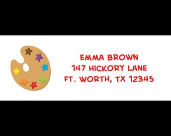 30 Persoanlized Art Party Return Address Labels -  Art Party - Artist Party - Little Artist - Painting Party - Craft Party - Boy or Girl