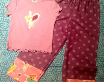 BALLERINA  flannel lounge set includes pants and tshirt with Ballerina  appliqué Children's  Size 5