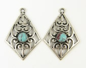 Antique Silver Earring  Findings Filigree Earring Finding, Elongated Diamond Gypsy Turquoise Cab Scroll Design Earring Component|B10-16|2