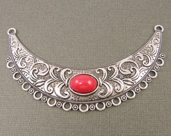 Crescent Moon Pendant Antique Silver Bib Necklace Red Cab Bead Ornate Jewelry Component |S26-12|1