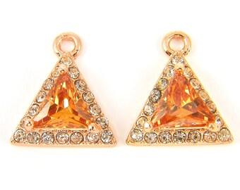 Topaz Earring Findings, Topaz Triangle Rhinestone Pendants, Amber Rose Gold Earring Findings Jewelry Charm CZ Cubic Zirconia |CO2-17|2