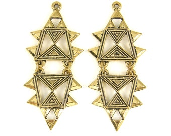 Ethnic Earring Findings Antique Gold Tribal Geometric Segmented Jewelry Pendant |AN11-2|2