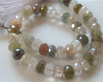 8 Inch Strand of Sparkling Mystic Multi Quartz Faceted Rondelles semi precious gemstone beads 6.5mm