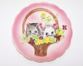 Vintage ESD Anthropomorphic Kittens in a Basket 3D Plate