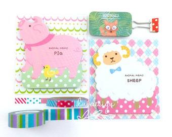 Animal Memo Notes (50 sheets/pkg) Pig Memo Pad • Sheep Memo Pad (27419)