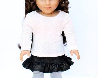 Fits like American Girl Doll Clothes - Cream Sweater, Denim Mini Skirt, and Heather Gray Leggings