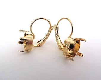 SALE 1 Pair Gold Plated Lever Back Earrings for Swarovski 47ss Rivoli 1122