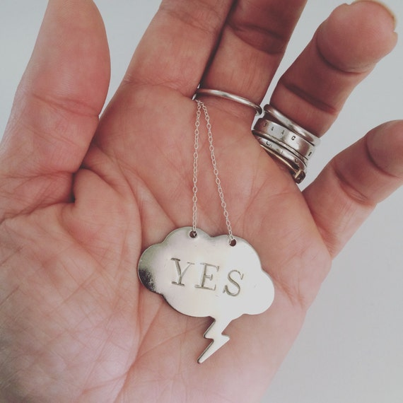 YES Positive Vibes Necklace in Silver Tone - Speech Bubble - Thought Bubble - Lightening Bolt - Positivity