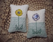 Pair of Tiny Primitive Folk Art Fabric Art Flower Pillow Bowl Fillers From Vintage Quilt Pieces