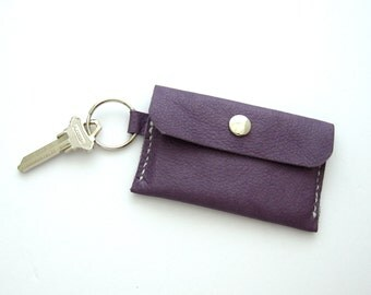 Purple Leather Wallet, Wallet on a Key Ring, Hand Stitched Leather Wallet, Purple Wallet, Key Ring Wallet, Leather Card Holder