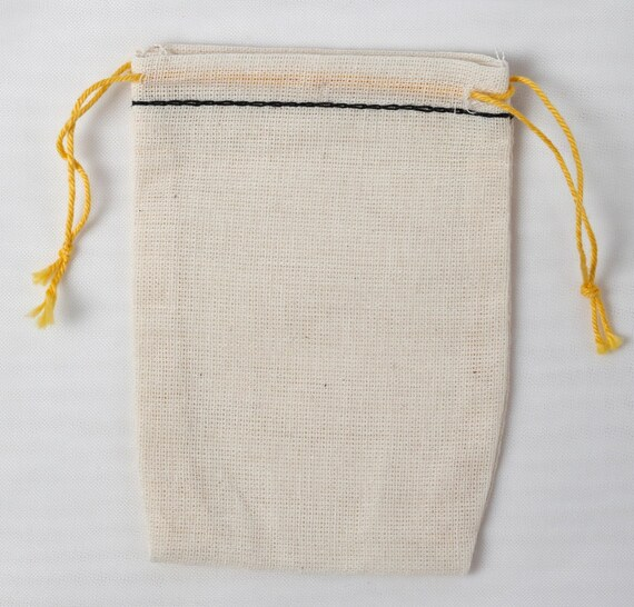 25 Mini 2.3/4 x 4 Cotton Muslin Bags with Black Hem and Yellow Double Draw String