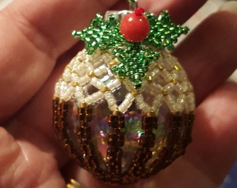 Christmas Pudding 3D Beaded Ornament, Hand made