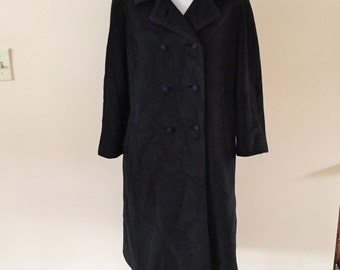 Vintage 1950s Black Coat Women's winter Coat size M/L  Lord and Taylor