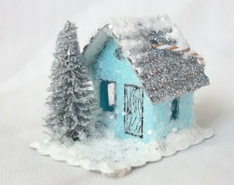 As Seen in Country Woman Vintage Putz Style Tiny Magical Miniature Blue Glitter Sugar House for your Winter Fairy Garden Christmas Village