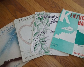 Vintage Sheet Music, Piano Music, Mid Century Sheet Music, Lot of 4